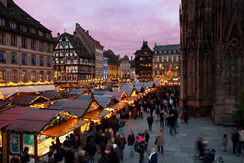 Christmas Market at the Cathedral Photo: Courtesy of the Strasbourg Tourism Office.