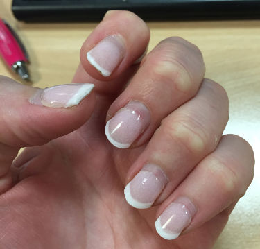 SNS french manicure filed down