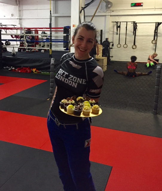 post-jiu jitsu birthday cupcakes at fightzone london
